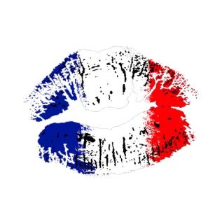 Flag lipstick on grunge lips