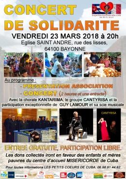 CONCERT SOLIDARITÉ le vendredi 23 mars à 20 h, à Eglise SAINT ANDRÉ, rue des lisses, 64100BAYONNE.